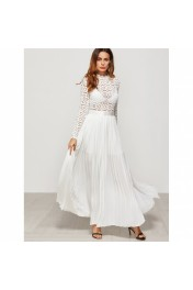 Eyelet Embroidered Lace Top Split Pleate - Catwalk