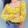 Floral yellow square collar long sleeve - TOP