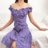 Gan blue strawberry lattice word collar - DRESS