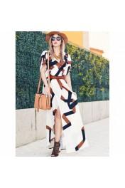 Geometric Print Split Maxi Dress - Catwalk
