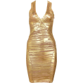 My Lulu Closet Dresses -  Gold Striped Foil Print Bandag Dresses