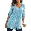 Hotapei My look -  HOTAPEI Women's Button up 3/4 Roll-up Sleeve Striped Shirts Scoop Neck Casual Blouse Tunic Tops