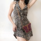 FECLOTHING My look -  Leopard Lapel Retro Backless Buttoned A-