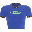 FECLOTHING T-shirts -  Letter printed leopard stitching crew ne