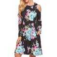 LuckyMore My look -  LuckyMore Women's Floral Print Cold Shoulder Casual Swing Tunic Dress with Pockets