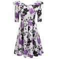 LuckyMore Dresses -  LuckyMore Womens Vintage 1950's 3/4 Sleeve Floral Print Pleated Swing Cocktail Party Dresses