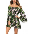 Mooncolour My look -  Mooncolour Women's Summer Off The Shoulder Floral Print Flare Sleeve Casual Tunic Mini Dress