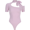 Pink Siamese Top Bow with Irregular Neck - BODYSUIT