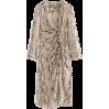Pleated serpentine chiffon dress long ca - DRESS