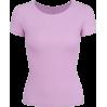 Purple Ice Silk Round Neck Short Sleeve - TOP
