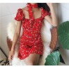 Red floral dress puff sleeve - DRESS