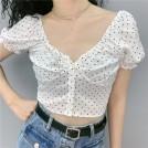 FECLOTHING My look -  Retro love short sleeve V-neck short shi