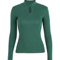 feclothing - Retro small turtleneck buttoned long-sle - Pullovers - $25.99