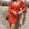 Retro square neckline single-breasted la - DRESS
