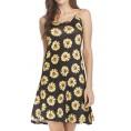 Shawhuwa My look -  Shawhuwa Adjustable A-Line Summer Strappy Dress for Women Black-Yellow XXXXL