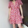 FECLOTHING My look -  Short-sleeved V-neck flower print dress