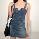 FECLOTHING My look -  Single-breasted denim suspender dress st