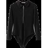 Solid color lapel zip long sleeve jumpsu - BODYSUIT