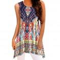 Topunder My look -  TOPUNDER Irregular Printing T-Shirt Sleeveless Blouse Loose Tunic Tank Tops for Women