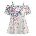 Topunder Shirts -  TOPUNDER Women Open Shoulder Tops Plus Size T-Shirt Butterfly Blouse