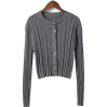 Twisted woven hollow long-sleeved sweate - TOP