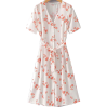 Vintage Chiffon Floral Front Breasted Sh - DRESS