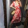 Vintage V-neck Irregular Hem Ruffle Dres - DRESS