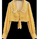 FECLOTHING Shirts -  Vintage V-neck long sleeve flower lace d