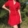 Vintage V-neck wave ruffle dress - DRESS