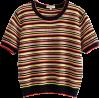 Vintage color striped short sleeve loose - TOP