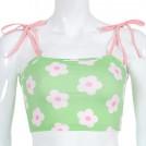 FECLOTHING Shirts -  Vintage flower print shoulder strap colo