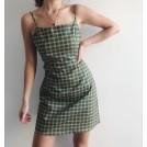 FECLOTHING My look -  Vintage green plaid slim suspender dress