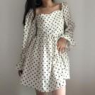 FECLOTHING My look -  Vintage tube top chiffon polka dot dress