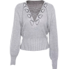 V-neck tie with lantern sleeves sweater - TOP
