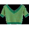 Wavy V-neck colorblock openwork sweater - TOP