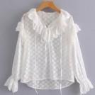 FECLOTHING Shirts -  Wild white long sleeve V-neck ruffled sh