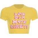 FECLOTHING Shirts -  Yellow letter short T tight top