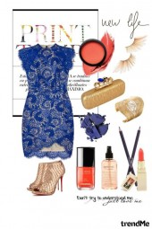 blue dress with coral