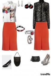 赤いスカートのコーディネート(オフィスとパーティー)