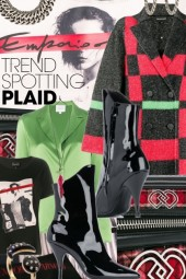 Emporio Armani  Red Green and Black Check Coat