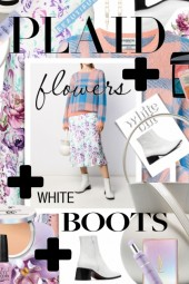 Plaid Plus Flowers Plus White Boots Trending Now