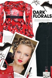 Black and Red Dark Florals