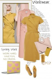 Work Wear in Pink and Mustard