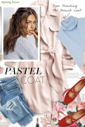 Pastel Coat and Red Shoes