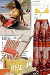 Silk Print Pants and Bikini