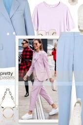 love a pastel two piece power suit,