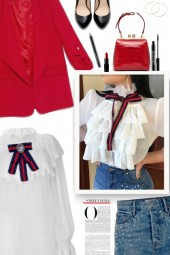 Layered Ruffles Bow Tied Flared Sleeve Blouse