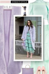 Lilac fur coat - romantic street style