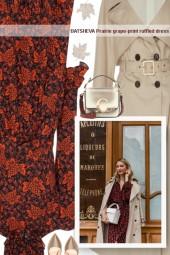 BATSHEVA Prairie grape-print ruffled dress