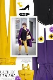 yellow, purple and black